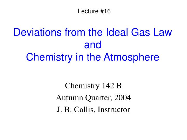 deviations from the ideal gas law and chemistry in the atmosphere