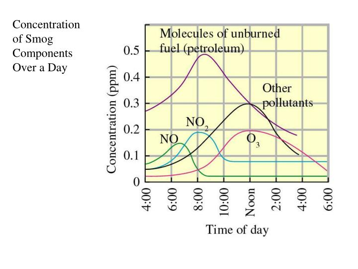 Concentration of Smog Components Over a Day