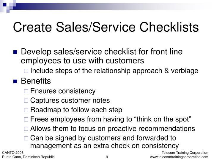 Create Sales/Service Checklists