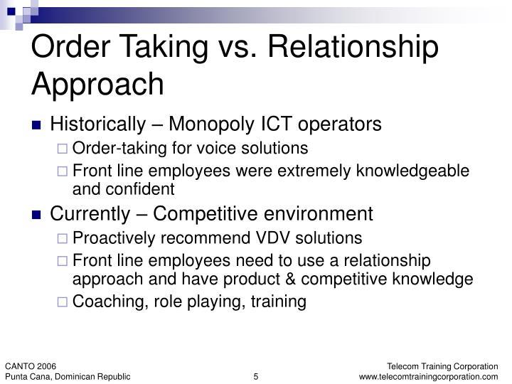 Order Taking vs. Relationship Approach