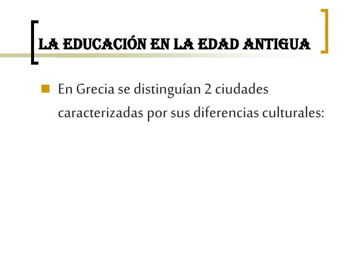 La educación en la Edad Antigua