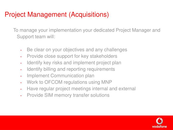 Project Management (Acquisitions)