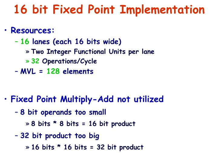 16 bit Fixed Point Implementation