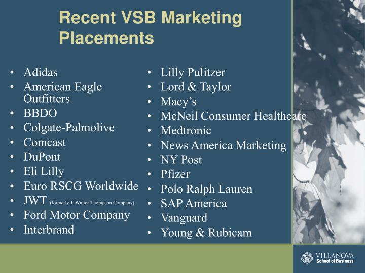 Recent VSB Marketing Placements