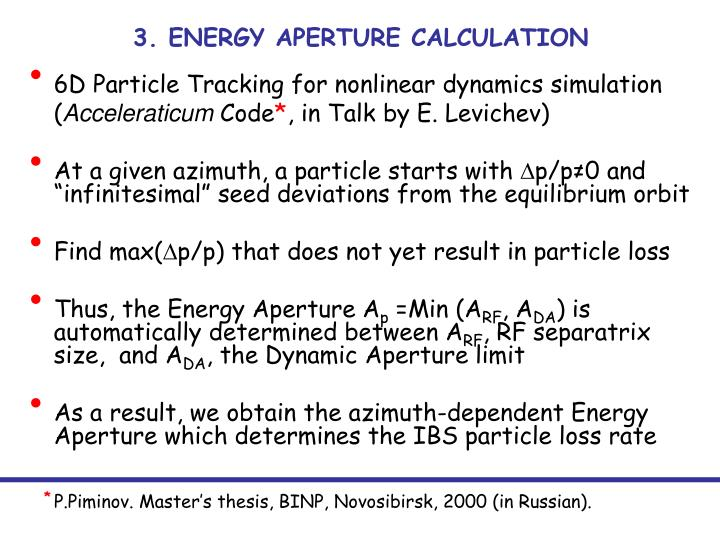 3. ENERGY APERTURE CALCULATION