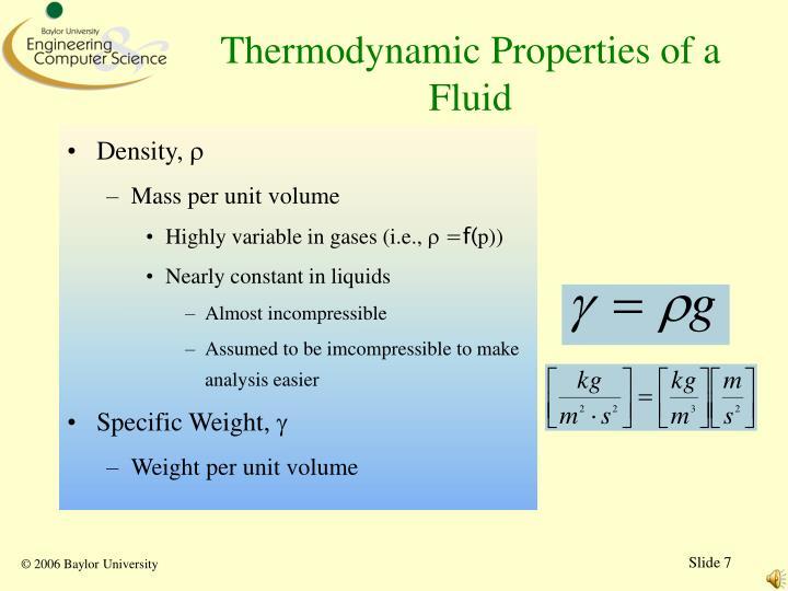 Thermodynamic Properties of a Fluid