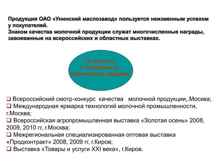 Продукция ОАО «Унинский маслозавод» пользуется неизменным успехом у покупателей.