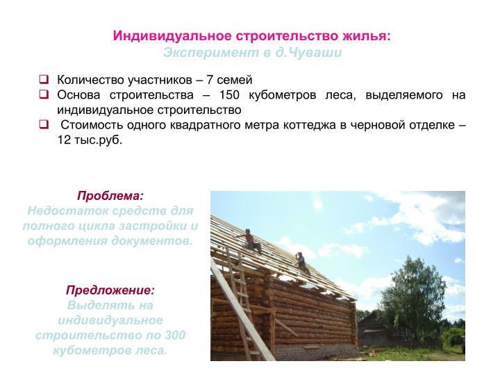 Индивидуальное строительство жилья: