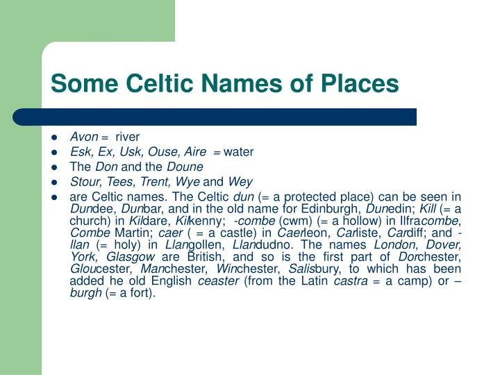 Some Celtic Names of Places