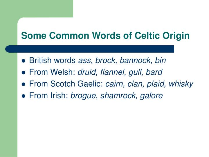 Some Common Words of Celtic Origin