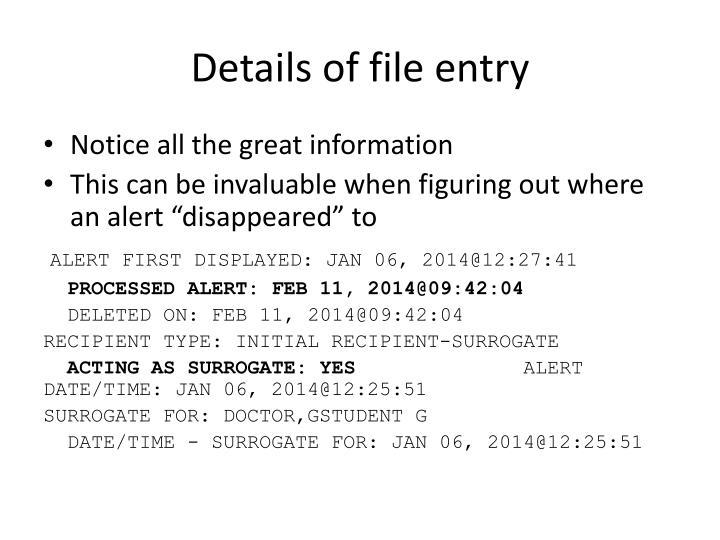 Details of file entry