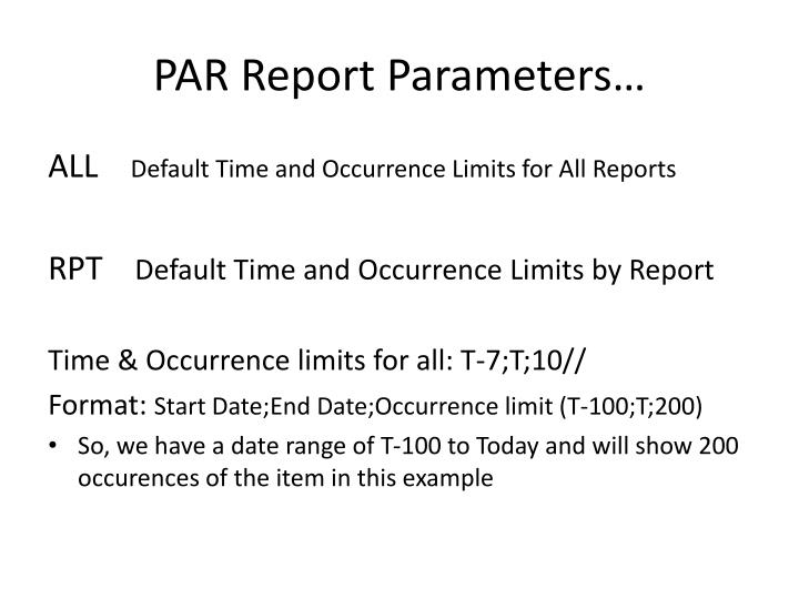 PAR Report Parameters…