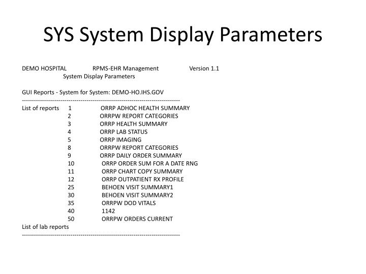SYS System Display Parameters