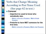 verbs that change meaning according to past tense used see page 62 in text