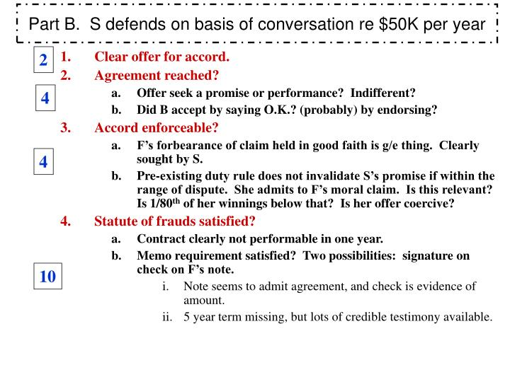 Part B.  S defends on basis of conversation re $50K per year