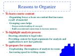 reasons to organize