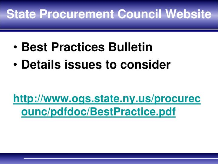 State Procurement Council Website