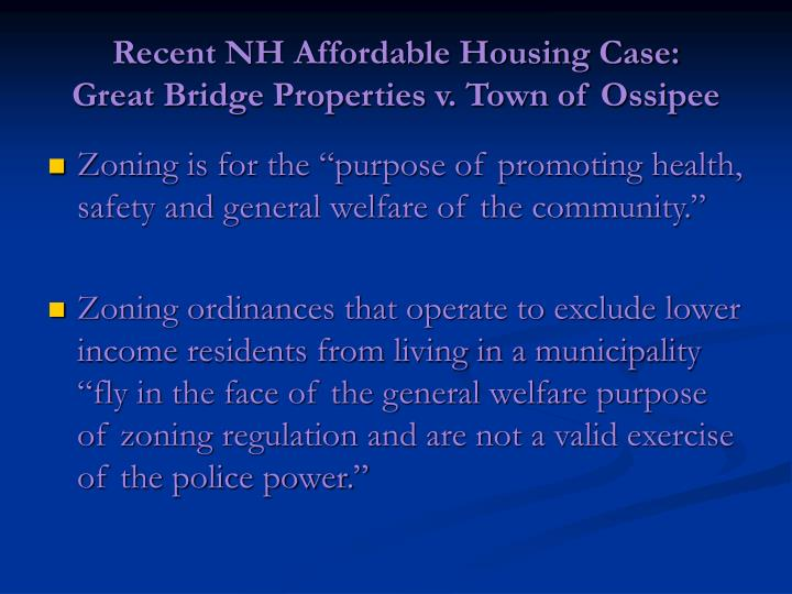 Recent NH Affordable Housing Case:
