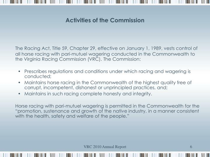 Activities of the Commission
