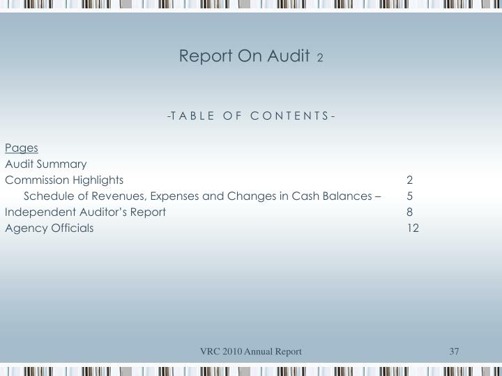 Report On Audit