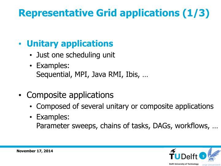 Representative Grid applications (1/3)