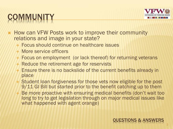 How can VFW Posts work to improve their community relations and image in your state?