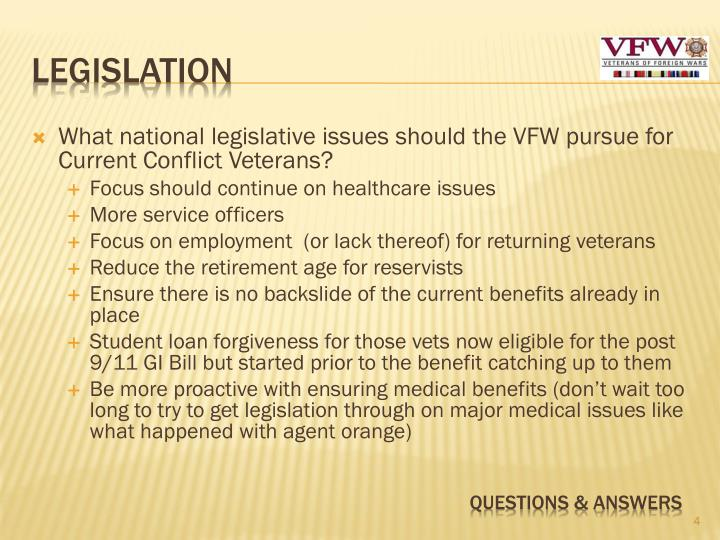 What national legislative issues should the VFW pursue for Current Conflict Veterans?