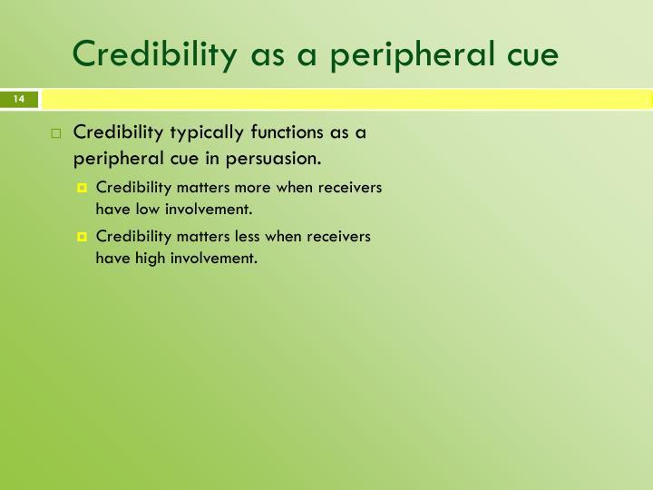 Credibility as a peripheral cue