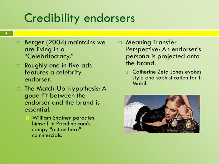 Credibility endorsers