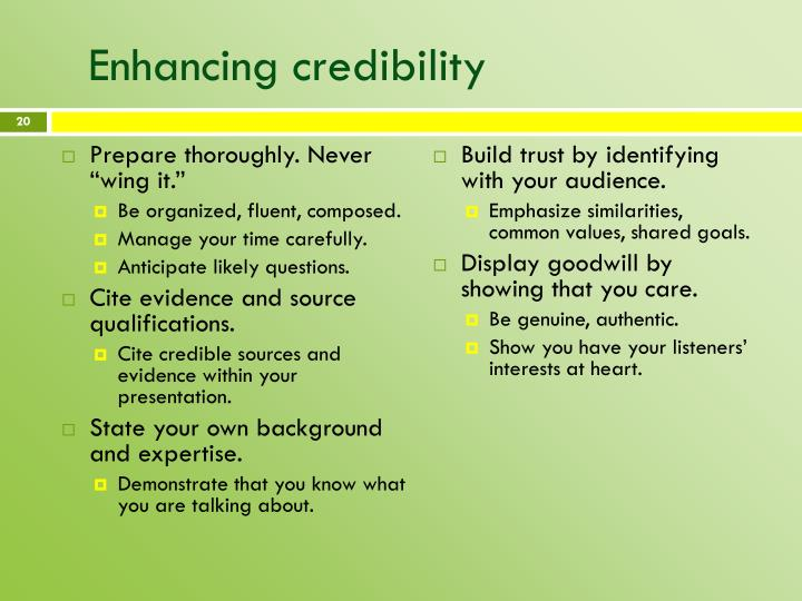 Enhancing credibility