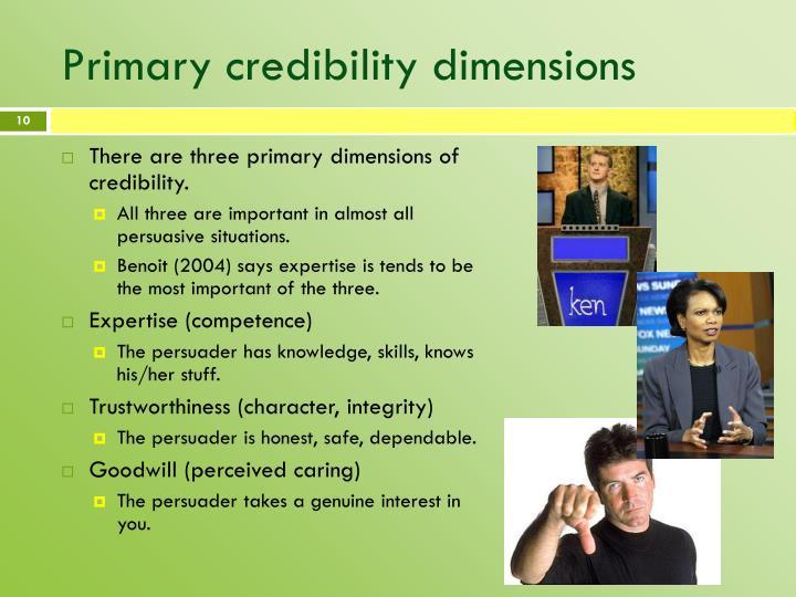 Primary credibility dimensions