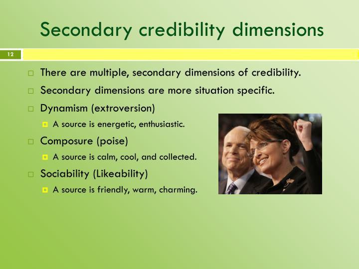 Secondary credibility dimensions