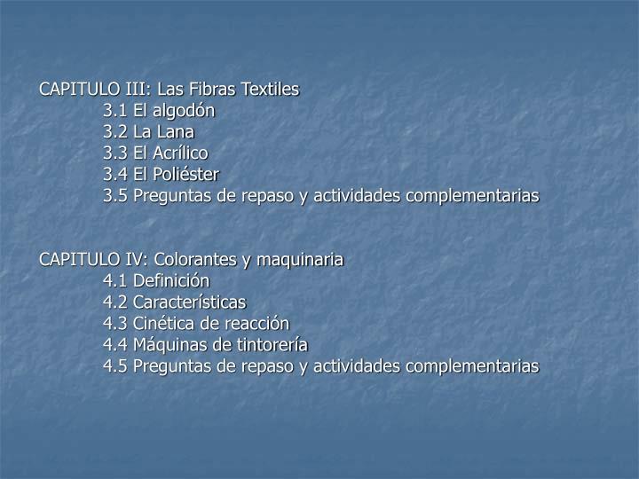 CAPITULO III: Las Fibras Textiles