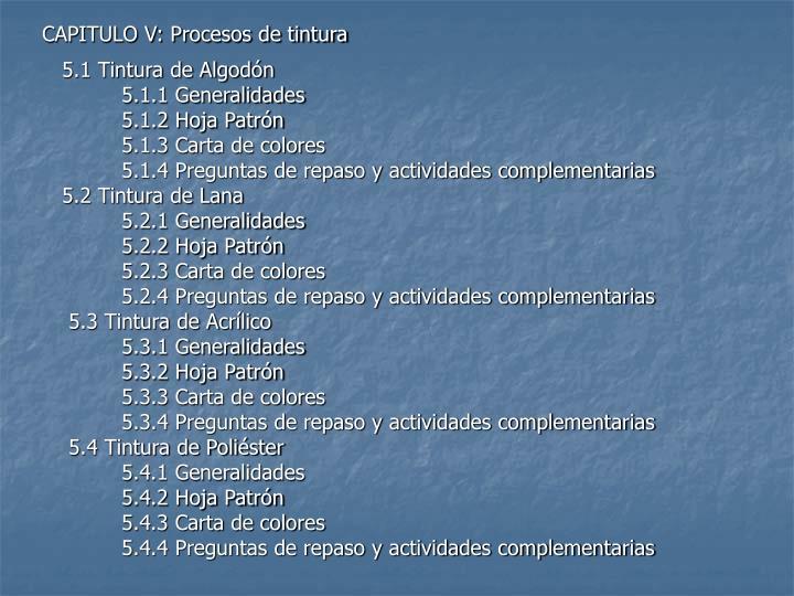 CAPITULO V: Procesos de tintura