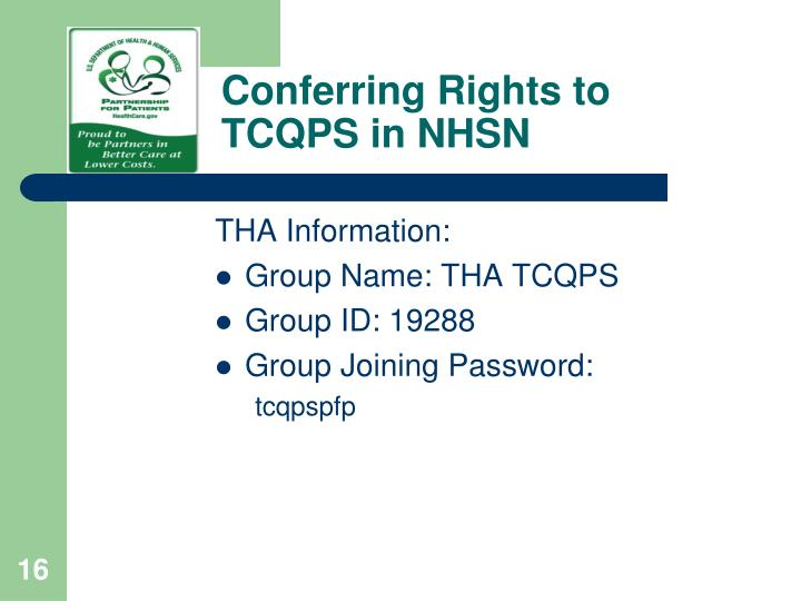 Conferring Rights to TCQPS in NHSN