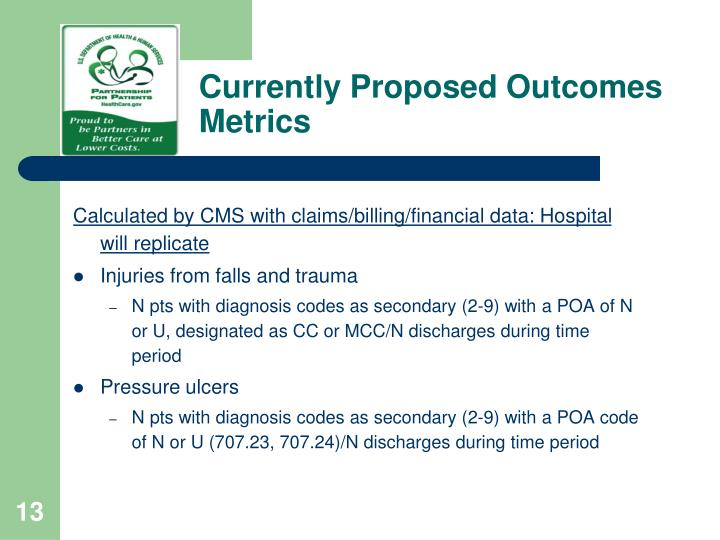 Currently Proposed Outcomes Metrics