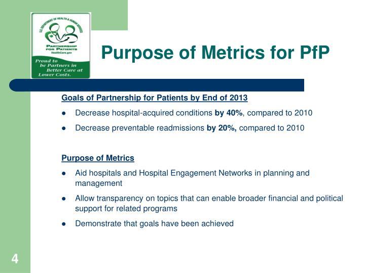 Purpose of Metrics for PfP