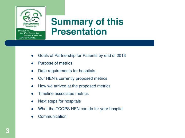 Summary of this Presentation