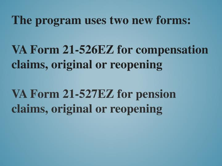 The program uses two new forms: