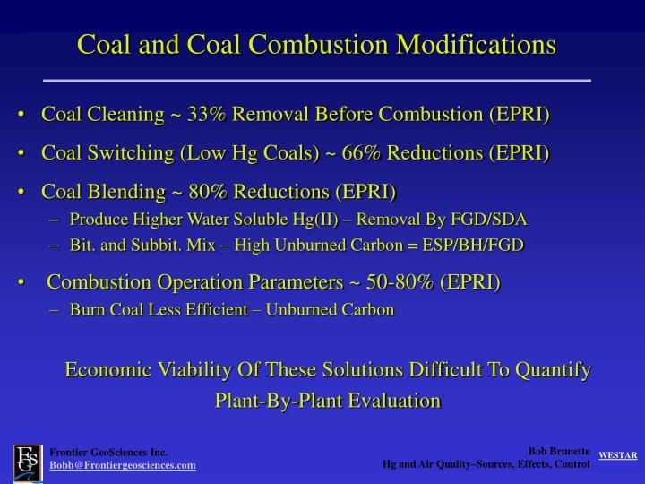 Coal and Coal Combustion Modifications