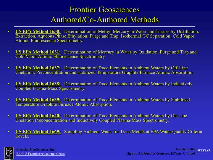 Frontier Geosciences