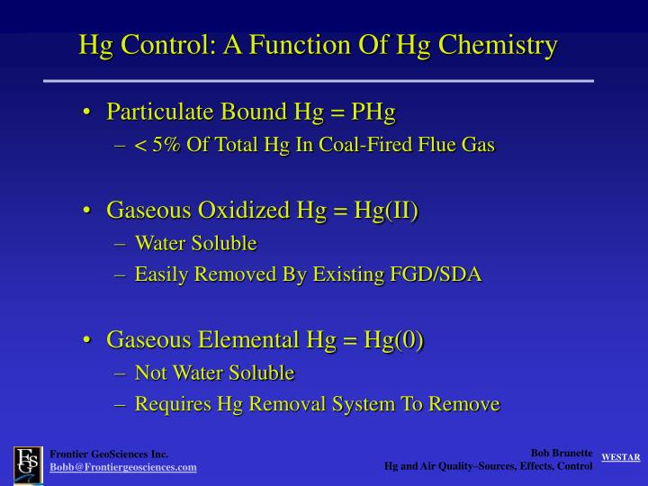 Hg Control: A Function Of Hg Chemistry