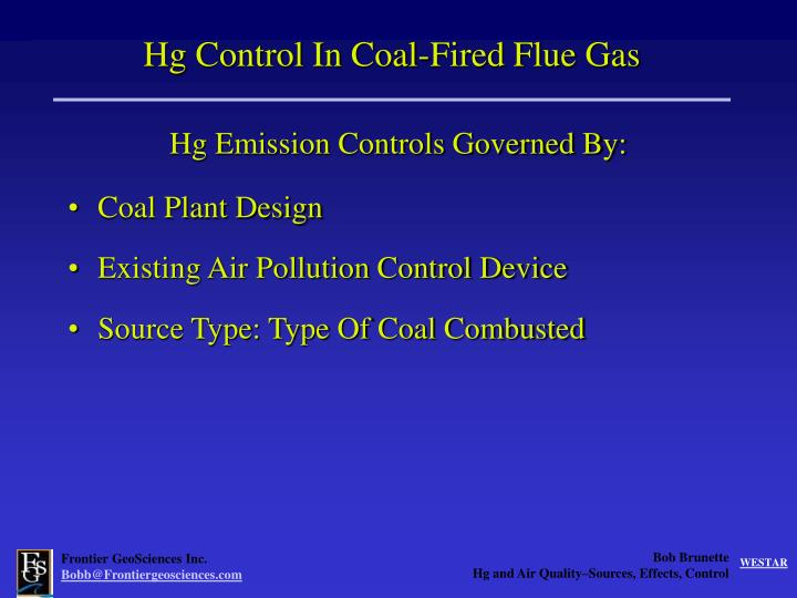 Hg Control In Coal-Fired Flue Gas