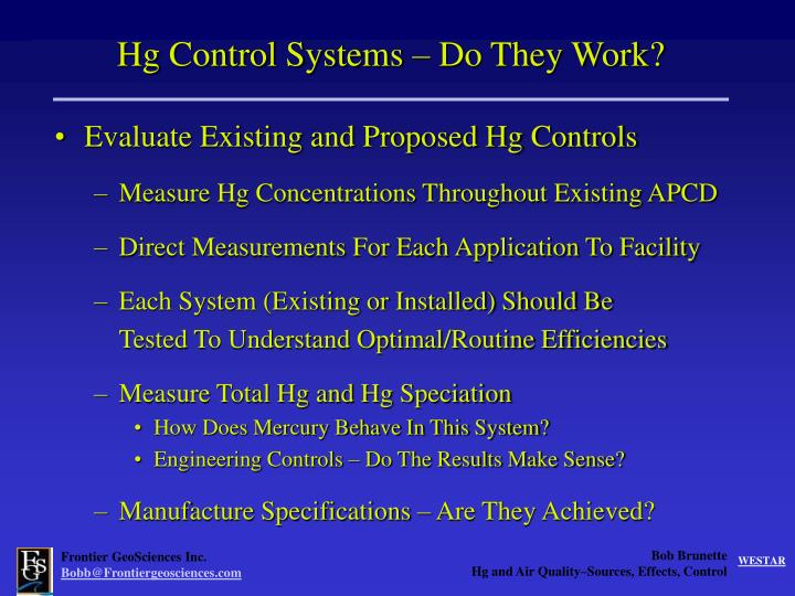 Hg Control Systems – Do They Work?