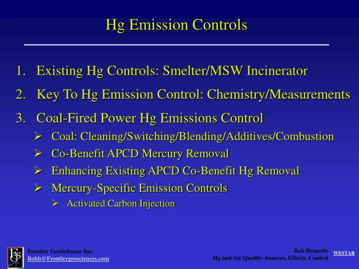Hg Emission Controls