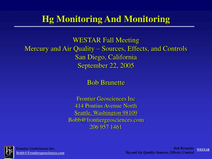 Hg Monitoring And Monitoring