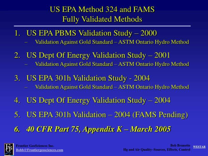 US EPA Method 324 and FAMS