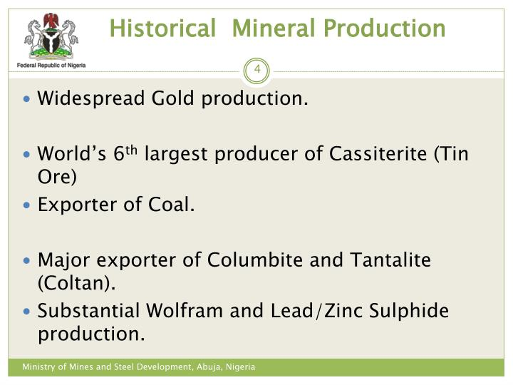 Historical  Mineral Production