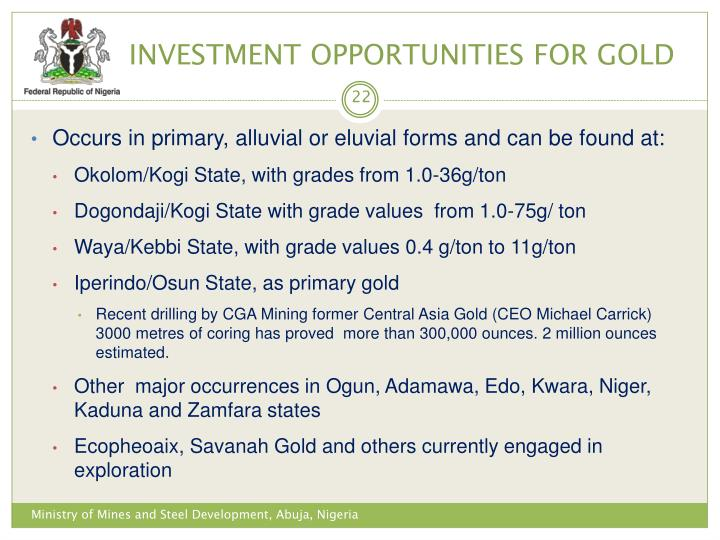 INVESTMENT OPPORTUNITIES FOR GOLD