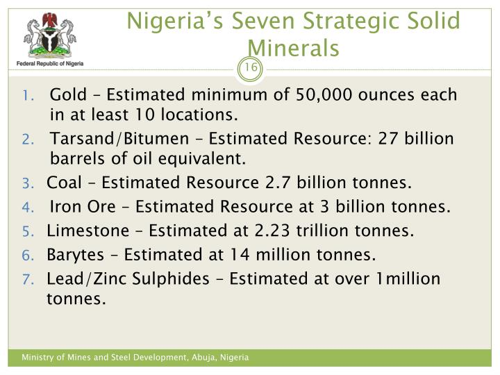 Nigeria's Seven Strategic Solid Minerals
